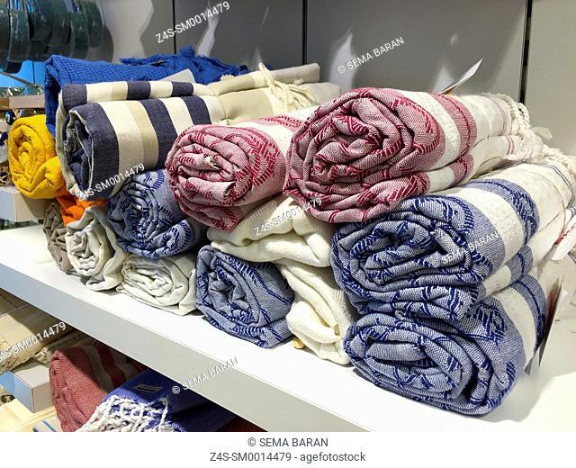 Close-up shot of coloured peshtemal textiles in craft market at Agean Region, Turkey, Europe
