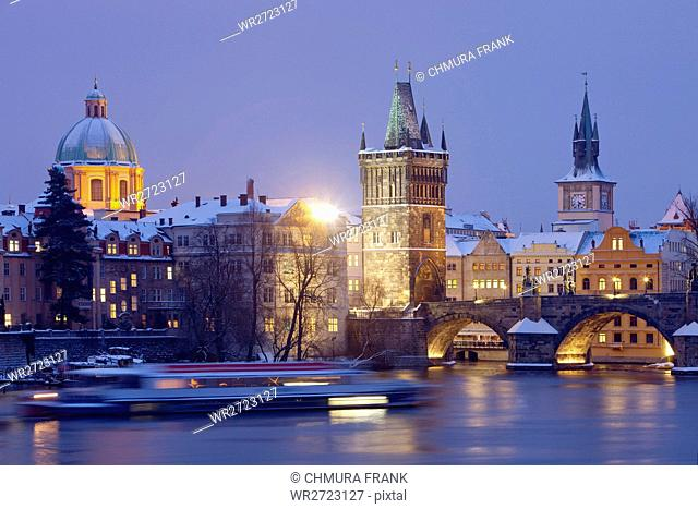 architecture, boat, bridge, Charles bridge, cities, city, cityscape, color, Czech republic, dusk, Europe, exterior, illuminated, outdoor, outdoors, outside