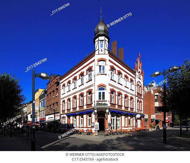 Germany, Grevenbroich, Erft, Lower Rhine, Rhineland, North Rhine-Westphalia, NRW, House Portz at the market place, residential house and business house