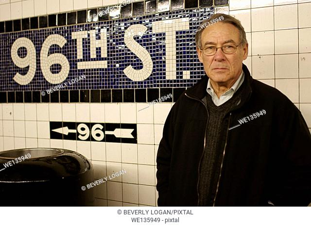 Senior man in subway in New York City