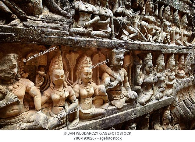 The Terrace of the Leper King - sculptures of the wall of temple, Angkor Temple Complex, Angkor, Cambodia