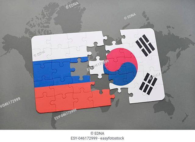 puzzle with the national flag of russia and south korea on a world map background. 3D illustration