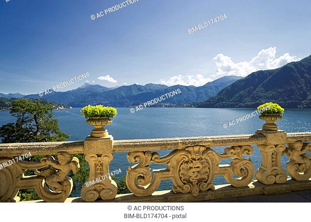 Ornate banister at Lake Como, Villa Balbianello, Lake Como, Italy