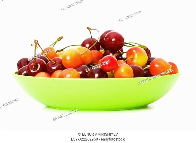 Cherries isolated on the white background