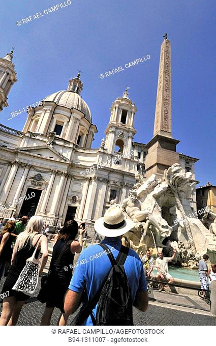 Church of Sant'Agnese in Agone (1652, Carlo Rainaldi) and Fountain of the Four Rivers (1651, Gian Lorenzo Bernini) with Egyptian obelisk, Piazza Navona, Rome