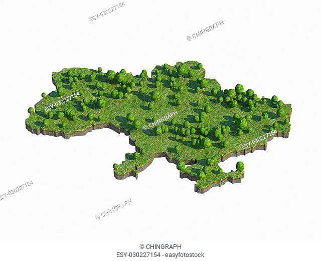 3d render of ukraine map section cut isolated on white with clipping path