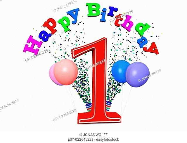 Eine 1 mit Happy Birthday und Ballons