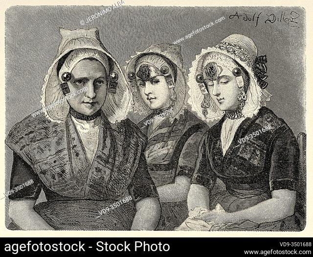 Mother Block and her daughters in Kruiningen, Netherlands, Europe. Trip to the Zeeland 1873, by Charles De Coster. Old engraving El Mundo en la Mano 1878