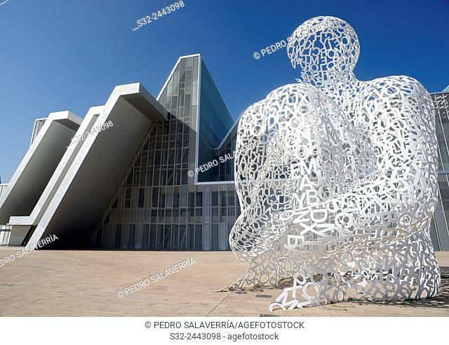 "Sculpture known as """"Ebro Soul """", sculptor Jaume Piensa, and Congress Hall, in what was the EXPO 2008, Zaragoza, Aragon, Spain"