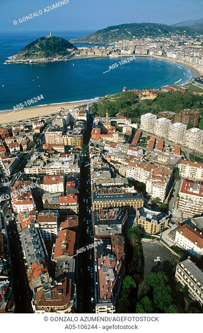 Urgull mount. La Concha bay. San Sebastian / Donostia. Guipuzcoa. Spain