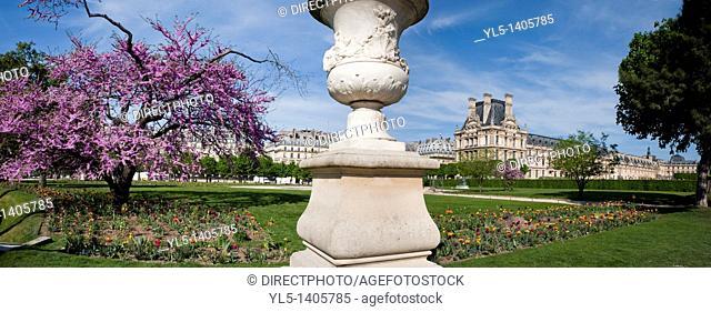 Paris, France, Panoramic View, Tuileries Garden, Jardin des Tuileries, With Louvre Museum, Spring