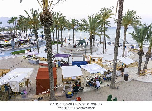 Albir beach in Alfaz del Pi Alicante province Spain Nightscape at promenade