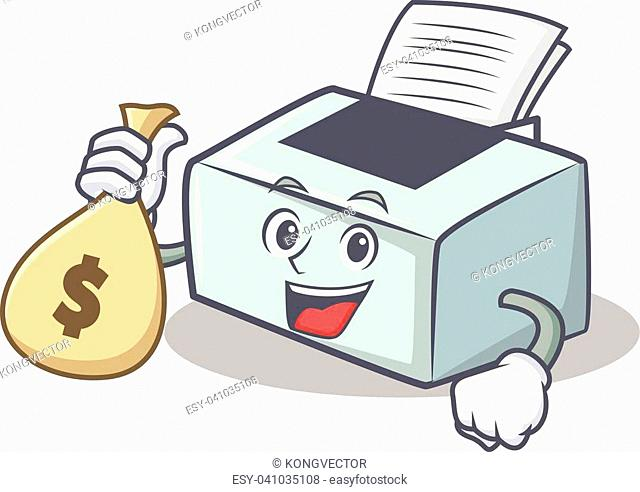 With money bag printer character cartoon style vector illustration