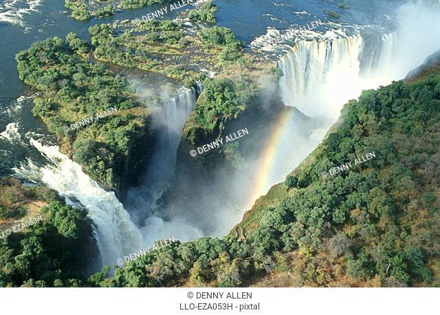 Devil's Cataract and Main Falls - Aerial View  Victoria Falls, Zambezi River, Zimbabwe/Zambia