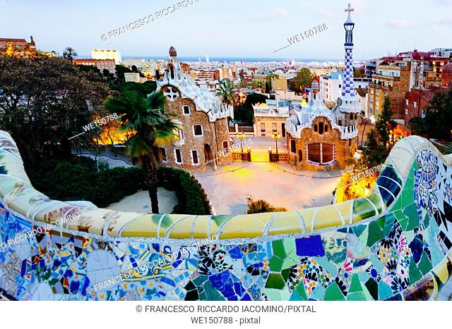 Barcelona, Park Guell, Spain, the modernism park designed by Antonio Gaudi, dusk