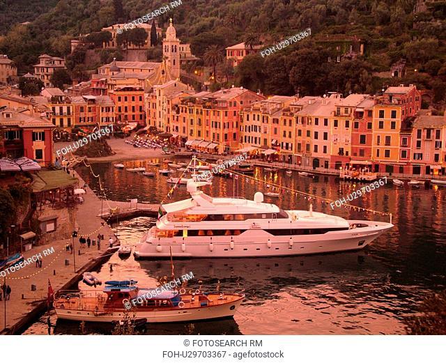 Portofino, Liguria, Italy, Riviera di Levante, Ligurian Riviera, Europe, Scenic view of the harbor and resort town of Portofino along the Ligurian Sea