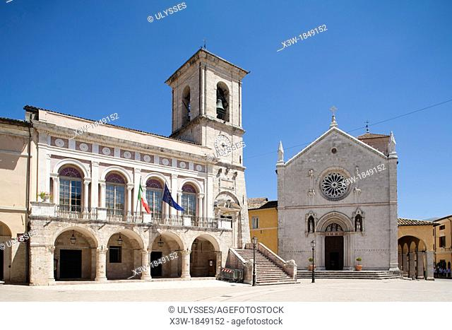 cathedral and town hall, piazza san benedetto, norcia, umbria, italy, europe
