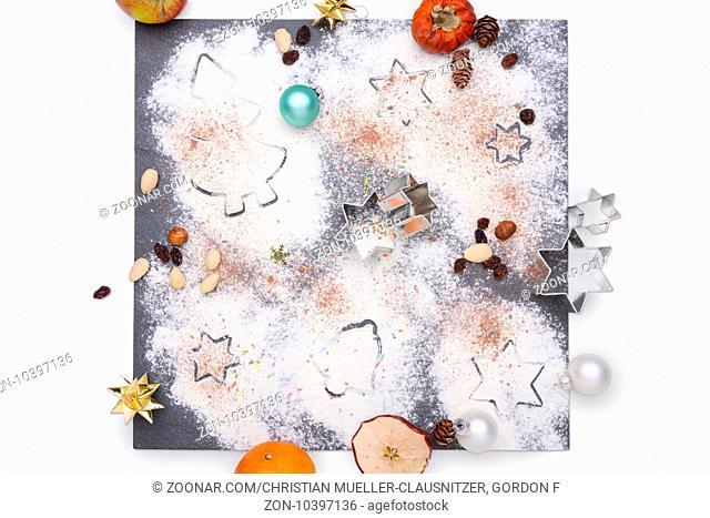 Christmas decoration arranged on a plate of slate