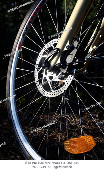 Hydraulic wheel brakes on bicycle. Location Suonenjoki Finland Scandinavia Europe
