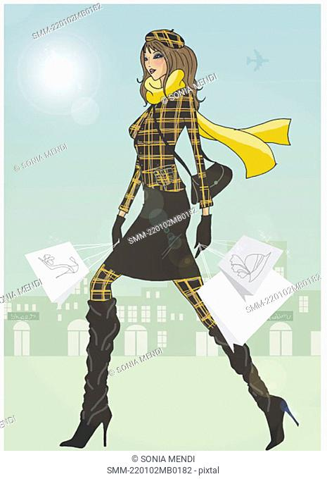 Woman in winter plaid clothing walking with shopping bags