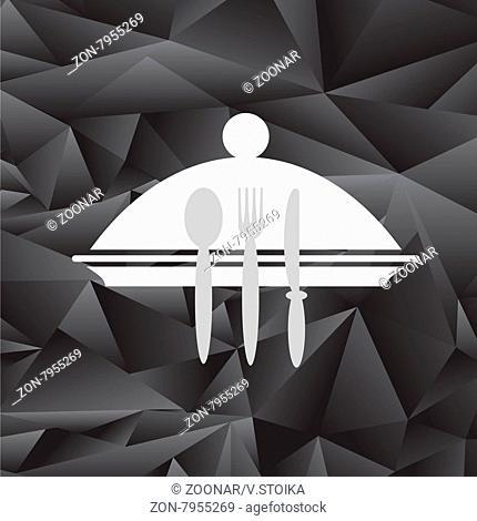 Symbol of Restaurant Isolated on Black Polygonal Background. Menu Book Icon Fork, Spoon, Knife, Plate. Cafe Logo Design. Restaurant Menu
