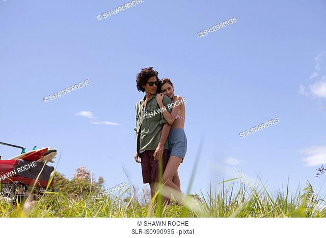 Affectionate young couple on vacation