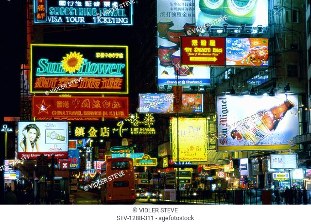 Advertisements, Asia, Billboards, Bus, China, Holiday, Hong kong, Hongkong, Kowloon, Landmark, Nathan, Neon, Night, Road, Signs