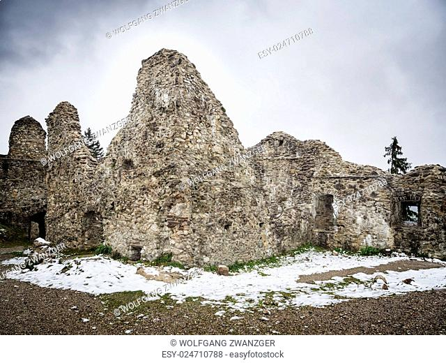 Image of ruin Hohenfreyberg on a winter day with mist and mystical mood