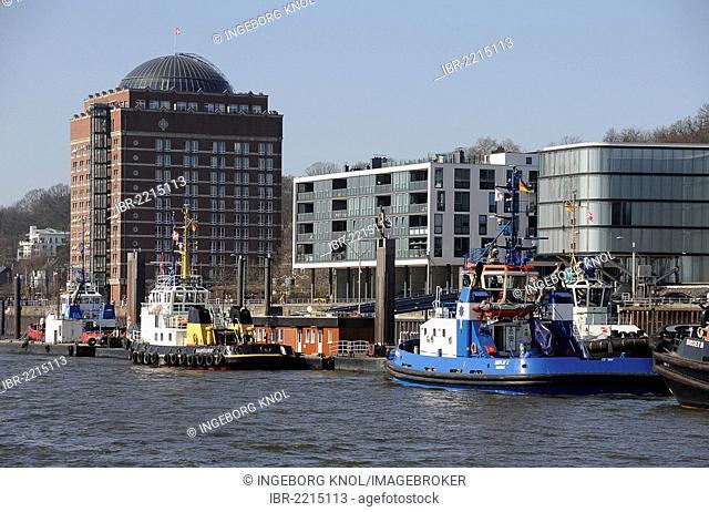Augustinum retirement home, office building and tug boats, Port of Hamburg, Altona, Hamburg, Germany, Europe