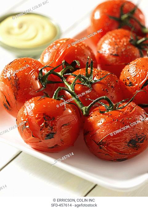 Roasted vine tomatoes close-up