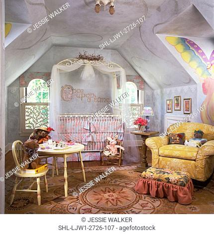 CHILDREN'S ROOM - Nursery, soft pastels, mostly blue, dormer windows, whimsical, sophisticated. Overview towards crib, teddy bears at tea. Area rug