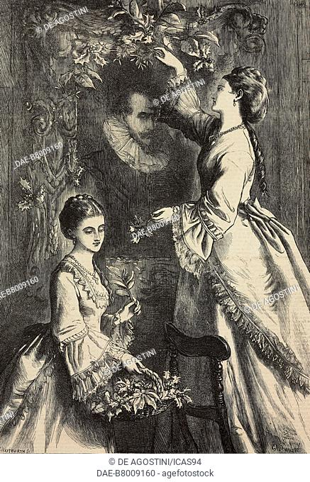 The ancestral portrait, engraving by Frederick Wentworth after a drawing by Ebenezer Newman Downard (1829-1894), from The Illustrated London News, No 1683-1684