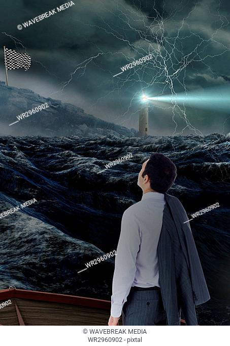 businessman looking to the checker flag in the sea with storm