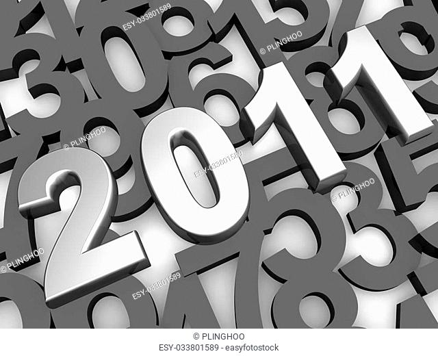 Silver 2011 year with overlapping numbering as background 3d illustration