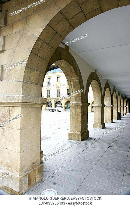 Arches in the square of the Town Hall of Amorebieta, Vizcaya, Spain
