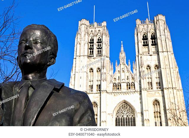 King Baudouin Statue & St. Michael and St. Gudula Cathedral in Brussels, Belgium