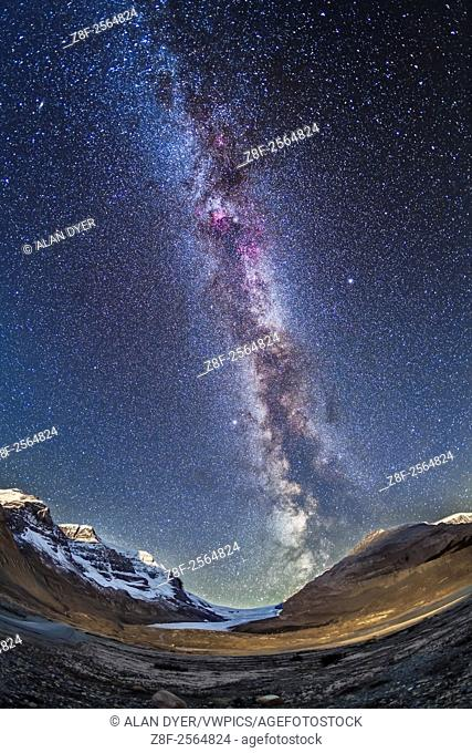 The Milky Way over Athabasca Glacier and the Columbia Icefields in Jasper National Park, Sept 14, 2014 on a very clear night before moonrise