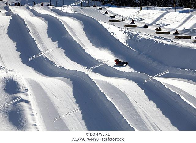 Tubing runs at Silver Star Mountain Resort, near Vernon, Okanagan, British Columbia, Canada