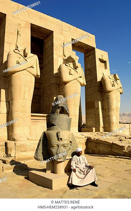 Egypt, Upper Egypt, Nile Valley, surroundings of Luxor, Thebes Necropolis listed as World Heritage by UNESCO, Western area, Ramesseum