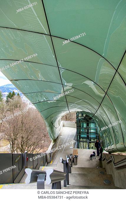 Nordkettenbahn, tram station by Zaha Hadid, in Innsbruck, Tyrol, Austria, Europe