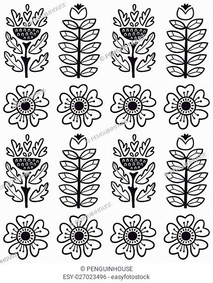 Scandinavian seamless pattern of graphic leaves and flowers in monochrome. Vector illustration, can be used for creating card, invitation card for wedding