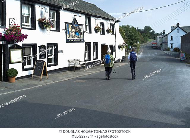 THRELKELD LAKE DISTRICT Two woman hikers Cumbrian village public