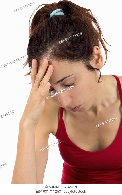 Stressful woman holding her head