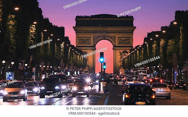 The Champs Elysees and Arc de Triumphe at night in Paris