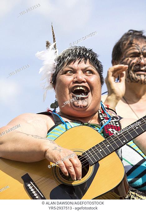 August 2017, Billingham, north east England, United Kingdom. Maori dancers from New Zealand performing at the Billingham International Folklore Festival of...