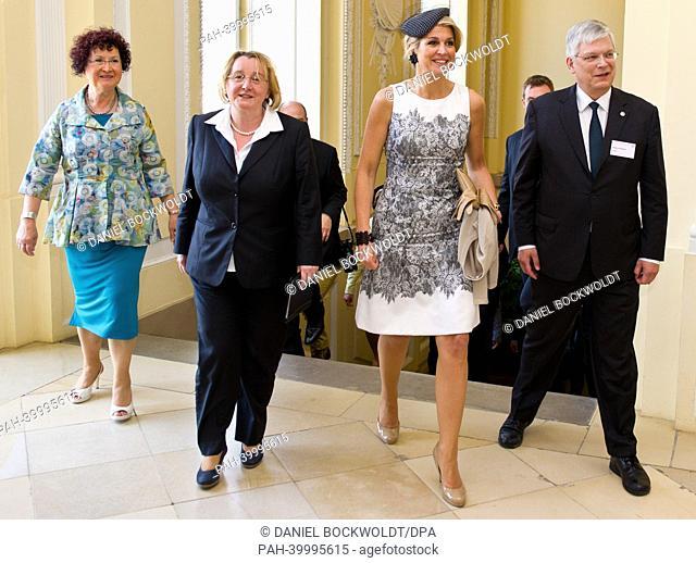 Dutch Queen Maxima visits Hohenheim University with Rector Stephan Dabbert (R), wife of Premier of Baden-Wuerttemberg (BW) Gerlinde Kretschmann(L) and Science...