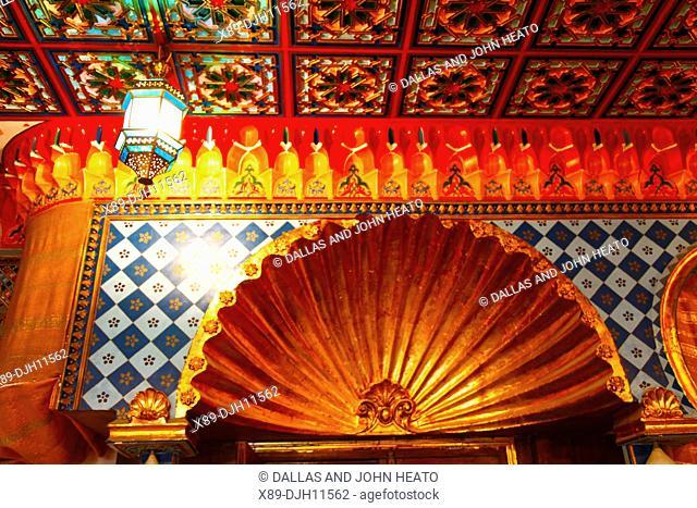 Africa, Tunisia, Kairouan, Restaurant Errachid, Decorated Ceiling and Walls