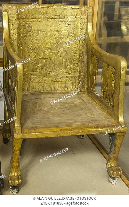 Egypt, Cairo, Egyptian Museum, from the tomb of Yuya and Thuya in Luxor : Wooden chair, plastered and gilded. The feet are lion paws