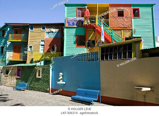 Colorful caminito street houses in La Boca district, Buenos Aires, Argentina, South America, America