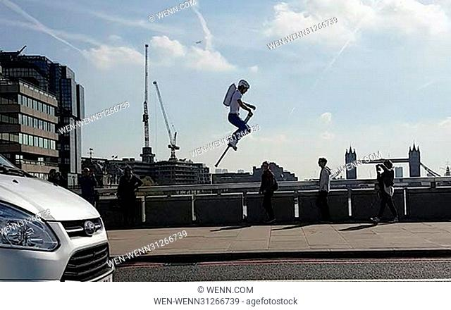 ***VIDEO AVAILABLE*** SPRING-TIME IN LONDON.... Commuters were taken aback this morning (3rd April, 2017), as they passed a man leaping across London Bridge on...
